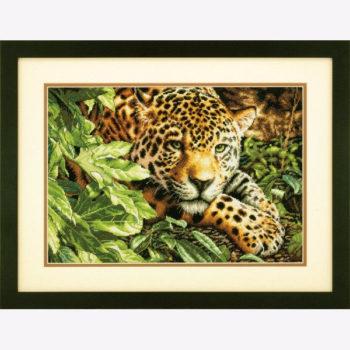 """70-35300 • Набор для вышивания крестом """"Отдыхающий леопард"""" • """"Leopard in Reposel"""" DIMENSIONS Gold Collection"""