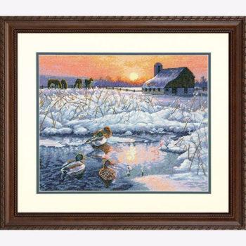 """70-35304 • Набор для вышивания крестом """"Зимнее утро"""" • """"Winter Morning"""" DIMENSIONS Gold Collection"""