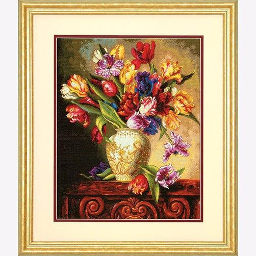 """70-35305 • Набор для вышивания крестом """"Попугайные тюльпаны"""" • """"Parrot Tulips"""" DIMENSIONS"""