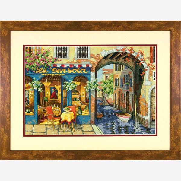 """70-35306 • Набор для вышивания крестом """"Уютное кафе"""" • """"Charming Waterway"""" DIMENSIONS Gold Collection"""