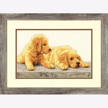 """70-35309 • Набор для вышивания крестом """"Щенки золотистого ретривера"""" • """"Golden Retriever Puppies"""" DIMENSIONS"""