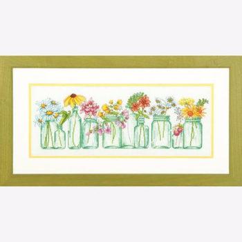 """70-35310 • Набор для вышивания крестом """"Цветы в банках"""" • """"Mason Jar Lineup"""" DIMENSIONS"""