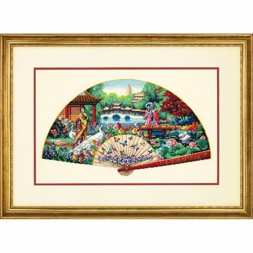 """70-35327 • Набор для вышивания крестом """"Садовый веер"""" • """"Garden Fan"""" DIMENSIONS"""
