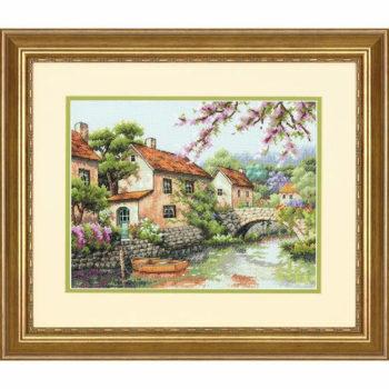 """70-35330 • Набор для вышивания крестом """"Канал"""" • """"Village Canal"""" DIMENSIONS"""