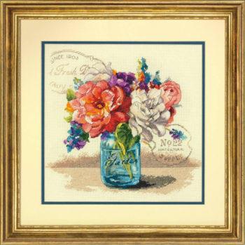 """70-35334 • Набор для вышивания крестом """"Садовый букет"""" • """"Garden Bouquet"""" DIMENSIONS"""