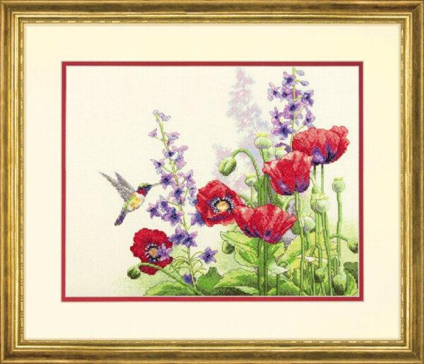"70-35344 • Набор для вышивания крестом ""Колибри и маки"" • ""Hummingbird and Poppies"" DIMENSIONS"
