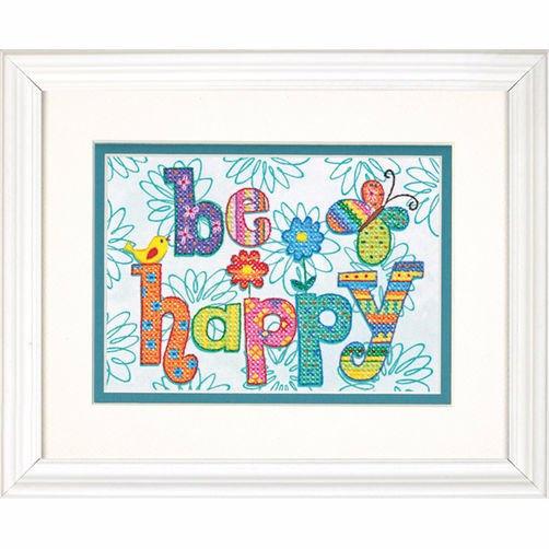 """70-65115 • Набор для вышивания крестом """"Будь счастлив"""" • """"Be Happy"""" DIMENSIONS"""