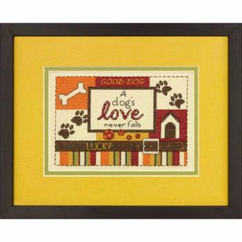 """70-65124 • Набор для вышивания крестом """"Собачья радостью"""" • """"A Dog's Love"""" DIMENSIONS"""
