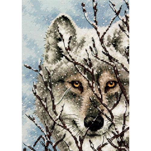 """70-65131 • Набор для вышивания крестом """"Волк"""" • """"Wolf"""" DIMENSIONS Gold Collection Petites"""