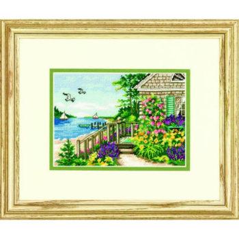 """70-65145 • Набор для вышивания крестом """"Коттедж на побережьи"""" • """"Bayside Cottage"""" DIMENSIONS Gold Collection Petites"""