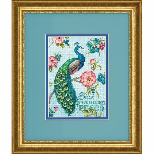 70-65146 Набор для вышивки крестом «Голубой павлин» • «Blue Peacock» DIMENSIONS Gold Collection Petites