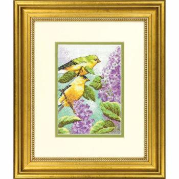 """70-65153 • Набор для вышивания крестом """"Щеглы и сирень"""" • """"Goldfinch and Lilacs"""" DIMENSIONS"""