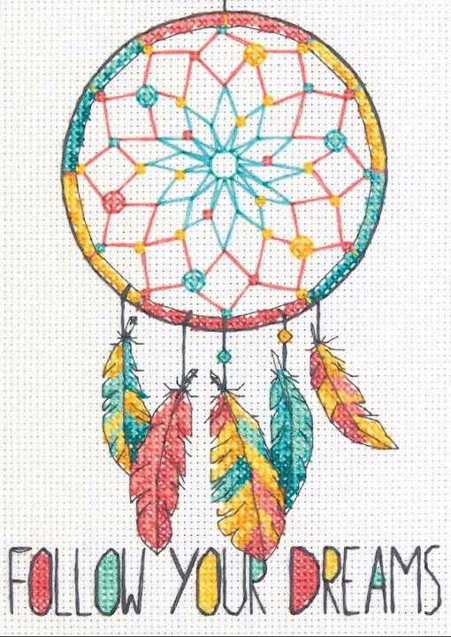 """70-65158 • Набор для вышивания крестом """"Ловец снов"""" • """"Dreamcatcher"""" DIMENSIONS"""