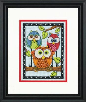 """70-65159 • Набор для вышивания крестом """"Трио сов"""" • """"Owl Trio"""" DIMENSIONS"""