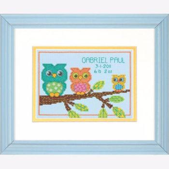 "70-73699 • Набор для вышивания крестом ""Совушки"" • ""Owl Mini Birth Record"" DIMENSIONS"