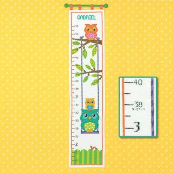 """70-73700 • Набор для вышивания крестом """"Ростомер """"Совушки"""" • """"Owl Growth Chart"""" DIMENSIONS"""