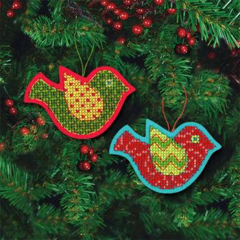 """72-08240 • Набор для вышивания крестом """"Веселые птички. Украшения"""" • """"Jolly Bird"""" DIMENSIONS"""