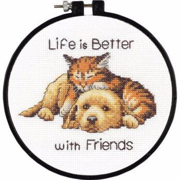 """72-74549 • Набор для вышивания крестом """"Лучше с друзьями"""" • """"Better with Friends"""" DIMENSIONS"""