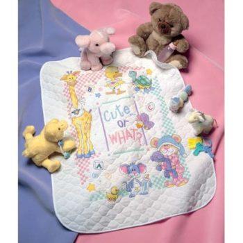 """72724 • Набор для вышивания одеяла крестом """"Милый... или как?"""" • """"Cute…Or What? Baby Quilt"""" DIMENSIONS"""