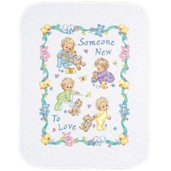 """72963 • Набор для вышивания одеяла крестом """"Новорожденный"""" • """"Someone New Baby Quilt"""" DIMENSIONS"""