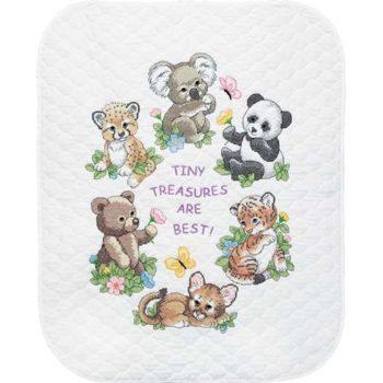 """73064 • Набор для вышивания одеяла крестом """"Детеныши животных"""" • """"Baby Animals Quilt"""" DIMENSIONS"""