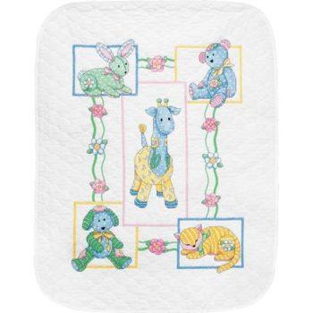 """73067 • Набор для вышивания одеяла крестом """"Детские друзья"""" • """"Baby's Friends Quilt"""" DIMENSIONS"""
