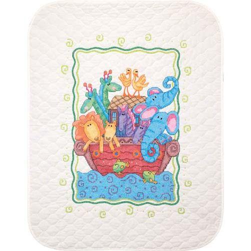 """73125 • Набор для вышивания одеяла крестом """"Ноев Ковчег"""" • """"Noah's Ark Quilt"""" DIMENSIONS"""