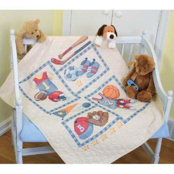 """73255 • Набор для вышивания одеяла крестом """"Детский спорт"""" • """"Little Sports Quilt"""" DIMENSIONS"""