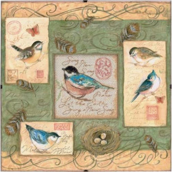 """73526 • Набор для вышивания крестом """"Птицы и завитки"""" • """"Birds & Swirls"""" DIMENSIONS"""
