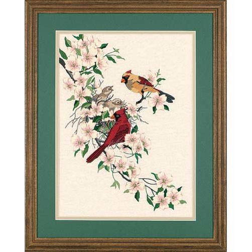 1516 Набор для вышивания гладью «Птички кардиналы в Догвуде» • «Cardinals in Dogwood» DIMENSIONS