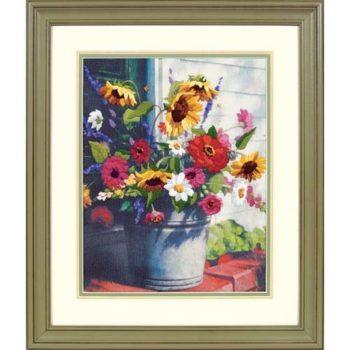 "01534 • Набор для вышивания гладью ""Ведро цветов//Bucket of Flowers"" DIMENSIONS"