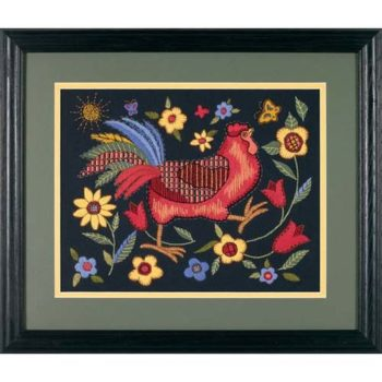 "01543 • Набор для вышивания гладью ""Петух на черном//Rooster on Black"" DIMENSIONS"