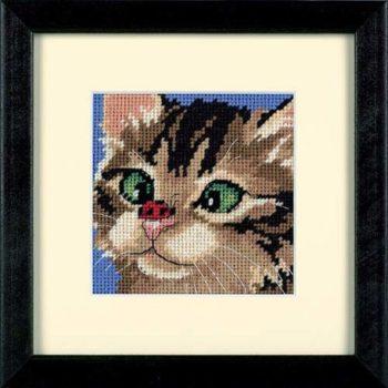 """07206 • Набор для вышивания гобеленом """"Косоглазый котенок//Cross-Eyed Kitty"""" DIMENSIONS"""