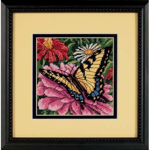 """07232 • Набор для вышивания гобеленом """"Бабочка на циннии//Butterfly on Zinnia"""" DIMENSIONS"""