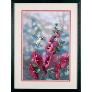 """11127 • Набор для вышивания гладью """"Цветущие мальвы//Hollyhocks in Bloom"""" DIMENSIONS"""
