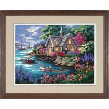 """12155 • Набор для вышивания гобеленом """"Домик в бухте//Cottage Cove"""" DIMENSIONS"""