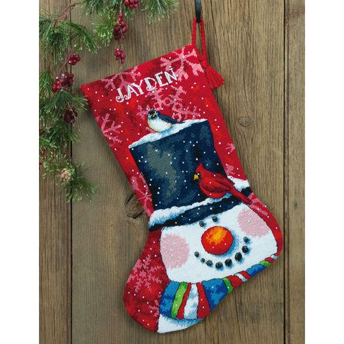 71-09146 Набор для вышивки — гобелен «Снеговик и друзья. Чулок» • «Snowman and Friends Stocking» DIMENSIONS