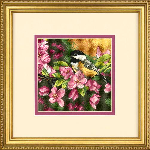 """72-07244 • Набор для вышивания гобеленом """"Синичка в розовом//Chickadee in Pink"""" DIMENSIONS"""