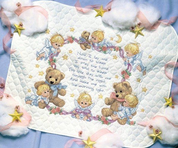 """03194 • Набор для вышивания одеяла крестом """"Ночная молитва"""" • """"Nighttime Prayer Quilt"""" DIMENSIONS"""