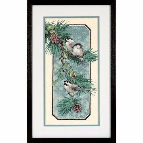 """03199 • Набор для вышивания крестом """"Синички на ветке"""" • """"Chickadees on a Branch"""" DIMENSIONS"""