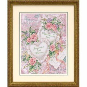 """03217 • Набор для вышивания крестом """"Соединение двух сердец"""" • """"Two Hearts United Wedding Record"""" DIMENSIONS"""