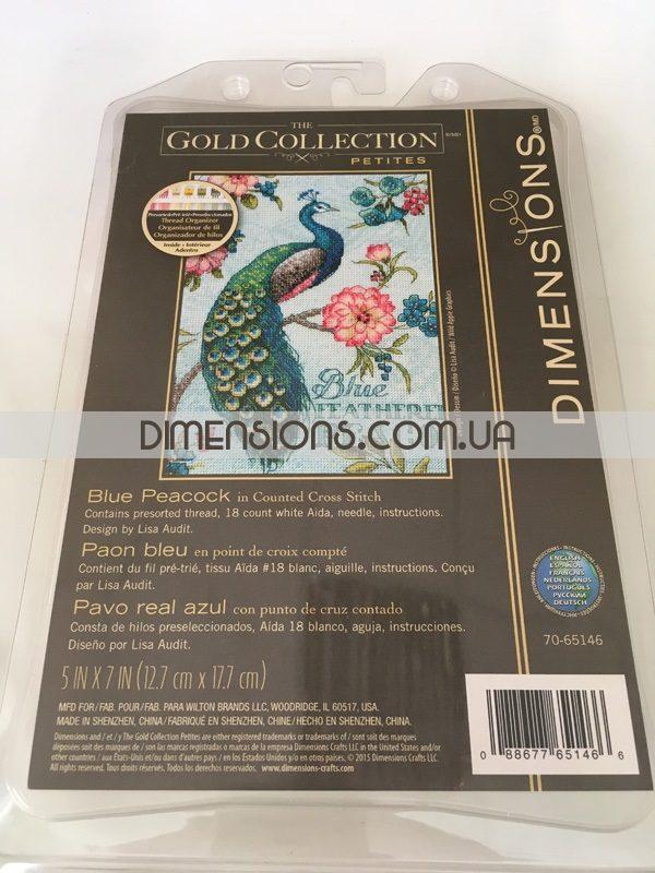 """70-65146 • Набор для вышивания крестом """"Голубой павлин"""" • """"Blue Peacock"""" DIMENSIONS Gold Collection Petites"""