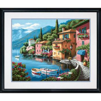 "73-91425 • Набор для рисования красками по номерам ""Прибрежный город"" • ""Lakeside Village"" Dimensions Paint Works"