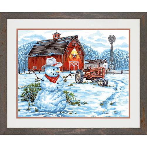 73-91434 Набор для рисования красками по номерам «Деревенский снеговик» • «Country Snowman» Dimensions Paint Works