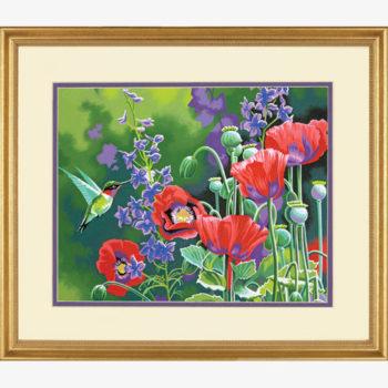"""73-91443 • Набор для рисования красками по номерам """"Колибри и маки"""" • """"Hummingbird and Poppies"""" Dimensions Paint Works"""