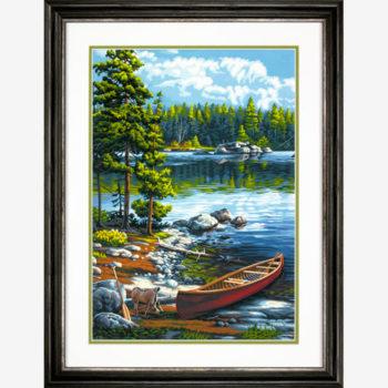 """73-91446 • Набор для рисования красками по номерам """"Каное у озера"""" • """"Canoe by the Lake"""" Dimensions Paint Works"""