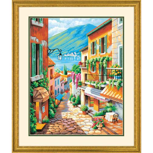"""73-91466 • Набор для рисования красками по номерам """"Ступеньки к морю"""" • """"Village Steps"""" Dimensions Paint Works"""