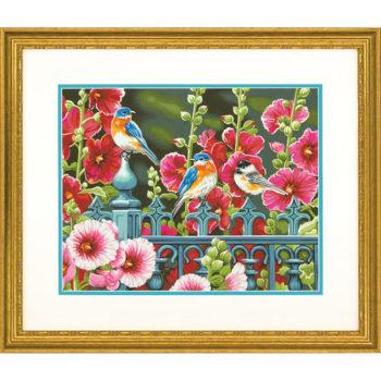 "73-91490 • Набор для рисования красками по номерам ""Птицы на калитке"" • ""Hollyhock Gate"" Dimensions Paint Works"