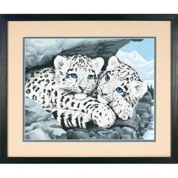 """91079 • Набор для рисования красками по номерам """"Снежные леопардики"""" • """"Snow Leopard Cubs"""" Dimensions Paint Works"""