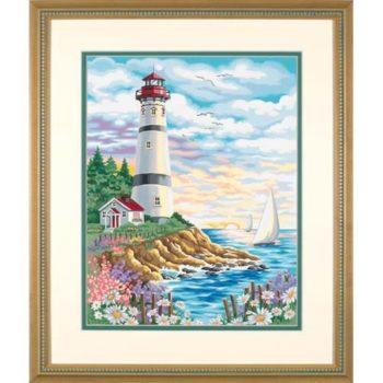 """91164 • Набор для рисования красками по номерам """"Маяк на рассвете"""" • """"Lighthouse at Sunrise"""" Dimensions Paint Works"""